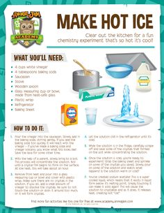 Clear out the kitchen for a fun chemistry experiment that's so hot it's cool!