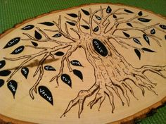 Custom Family tree wood burning with chalkboard leaves- pyrography home decor. $35.00, via Etsy.