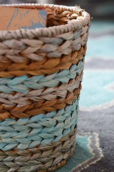 Weekly Crafty: Basket Painting | Young House Love. Paint thrift store basket! Never would have thought of this!!