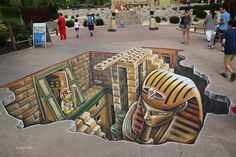 LEON KEER: 3d street art with Egypt theme for Legoland Gunzburg Germany. The 3d street painting measures 30 square meters.