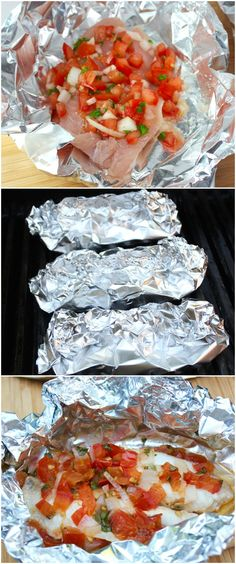 This Tomato Herb Tilapia Foil Pouch is a simple recipe perfect for grilling in the backyard or cooking in the kitchen oven. The pouches are packed with flavor and make cleanup a breeze Fish Tilapia) Salmon Recipes, Fish Recipes, Seafood Recipes, Orange Recipes, Recipies, Easy Tilapia Recipes, Healthy Cooking, Healthy Eating, Cooking Recipes