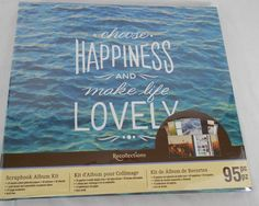 Recollections Choose Happiness Scrapbook Album 95 Piece Kit Double Sided Paper #Recollections