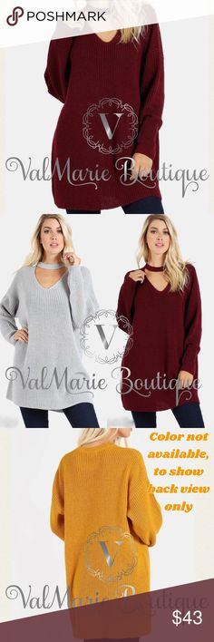 """Deep Burgundy Choker Knit Sweater Cozy, oversized and warm. Perfect for Fall and Winter. 88% ACRYLIC 12% POLYESTER. Also available in light grey. Mustard not available  s(2-4) M(6-8) L(10-12) XL(14-16) - approx 29.5"""" long. Looks amazing with leggings. ValMarie Sweaters"""