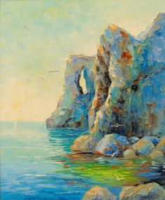 "Olha Darchuk ~ ""Cliffs by the sea"" ~ Oil on Canvas 2017"