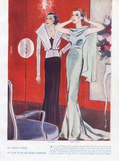 Léon Bénigni 1933 Rose Descat, Robert Piguet, Véra Boréa — original fashion print