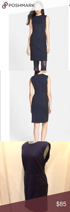 """Tory Burch L Natalee Ponte Knit Sheath Dress $375 Tory Burch Natalee Ponte Knit Sheath Dress Size L Sleeveless dress with faux leather piping that borders the muted color blocks (navy and black) that visually slim a wool blend sheath dress.  Hidden back zip closure.  Fully lined.  Imported. Dry clean only.  1st quality authentic and all items comes from a smoke free home.  MSRP $375.00 + tax.  Flat Measurements: Chest: 20.5"""" Length: 37.5"""" Waist: 17"""" Hip: 20.5"""" Tory Burch Dresses Mini"""