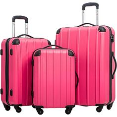 Merax Travelhouse 3 Piece Spinner Luggage Set with TSA Lock (Rose & Black) Best Luggage, Luggage Sets, Tank You, Leather Luggage, Online Bags, 3 Piece, Daily Deals, Hand Bags, Plane