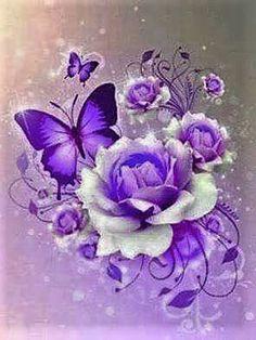 By Artist Unknown. Et Wallpaper, Purple Wallpaper, Butterfly Wallpaper, Wallpaper Backgrounds, Beautiful Flowers Wallpapers, Pretty Wallpapers, Beautiful Butterflies, Beautiful Roses, Purple Butterfly