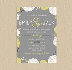 Printable Wedding Invitation - Fun Floral, 5x7, Yellow and Gray by seedtosprout - Hand drawn flowers and ampersand!
