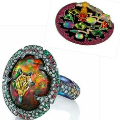 """Shirley Zhang's one-of-a-kind brooch pictures Buddha, """"the enlightened one,"""" meditating in front of a lotus pond. This high jewelry treasure is inspired by the 20th century Chinese poet Zhu Ziqing's masterwork, """"Moonlight Over the Lotus Pond."""" Set on a 47.5 carat oval of red agate, the colorful brooch also comprises 3.30 carats of rubies, 3.10 carats of opal, 1.95 carats of jade, 0.15 carat of emerald and 0.10 carat of diamond.  Source @bijouxreview Opal ring by @arunashibh via…"""