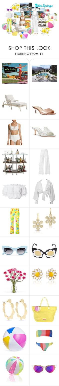 """""""Palm Springs. Poolside. Life. Style."""" by shellygregory ❤ liked on Polyvore featuring Slim Aarons, Frontgate, Nine West, Marysia Swim, Donald J Pliner, Ermanno Scervino, LoveShackFancy, Montana, Moschino and Dolce&Gabbana"""