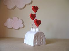 """Large Heart Factory: 3 5/8"""" x 4 1/4 x 10""""(to topmost heart) Sculpture - Twice fired glazed ceramic earthenware. Signed and dated."""