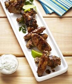 Grilled Tequila and Lime Chicken Wings with Cilantro Yogurt Dip