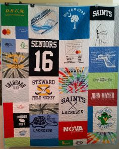 Small lap sized t-shirt quilt - finished and ready to go home! Field Hockey, Shirt Quilt, Ready To Go, Lacrosse, Quilts, T Shirt, Photos, Supreme T Shirt, Scraps Quilt