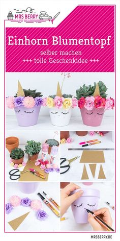 Diy geschenke Unicorn flower pot DIY DIY A great idea for tinkering with children and as decoration Unicorn Diy, Party Unicorn, Unicorn Crafts, Unicorn Birthday Parties, Flower Pot Crafts, Flower Pots, Diy Flowers, Diy And Crafts, Crafts For Kids