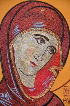 Ebroidered Byzantine icon of Virgin Mary ODIGITRIA by embricona, €60.00