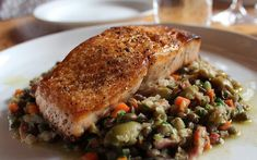 Salmon with Lentils, Bacon, and Gordal Olives