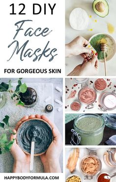 We've rounded up the top 12 DIY face masks that you can make within just minutes to give your skin a gorgeous glow. Perfect for all skin types! Face Mask 12 DIY Face Masks for Gorgeous Skin - Happy Body Formula Honey Face Mask, Clay Face Mask, Dit Face Mask, Face Mask Diy, Body Mask, Skin Mask, Diy Masque, Homemade Face Masks, Natural Beauty Tips