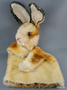 Steiff Bunny Rabbit Mohair Plush Hand Glove Puppet 17 cm no ID 1960s Vintage     I could put on puppet shows for my cats. :-)