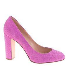 J.Crew Collection Etta Snakeskin Pumps in neon amethyst...this color is gorg!