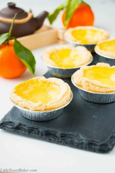 Chinese Egg Tarts - This popular dessert features a silky egg custard that is baked in a crispy buttery puff pastry she - Brownie Desserts, Oreo Dessert, Mini Desserts, No Egg Desserts, Asian Desserts, Delicious Desserts, Dessert Recipes, Chinese Desserts, Chinese Recipes