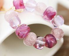 Pink rose handmade lampwork glass beads - Organics set sra - shabby chic - LS027