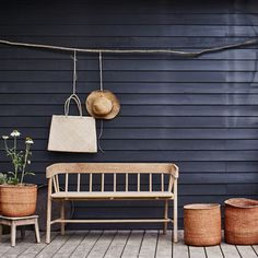 Outdoor benches add storage, beauty and seating to any area around your home! You cannot go wrong with an outdoor bench. Indoor Outdoor, Outdoor Living, Outdoor Decor, Rustic Outdoor Spaces, Outdoor Ideas, Dinner Table, Sweet Home, Entryway, Decoration