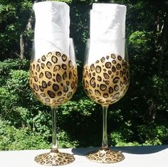 Leopard hand painted wine glasses by GlassesbyJoAnne on Etsy