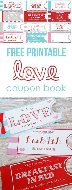 Free Printable Love Coupons Valentines \u003c3 Pinterest Coupons - homemade coupons for boyfriend ideas