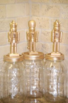 Nutcracker mason jars filled with mints or candy canes [note to self: just glue - no gold] All Things Christmas, Winter Christmas, Christmas Holidays, Christmas Ornaments, Christmas Parties, Christmas Wood, Christmas Projects, Holiday Crafts, Holiday Fun