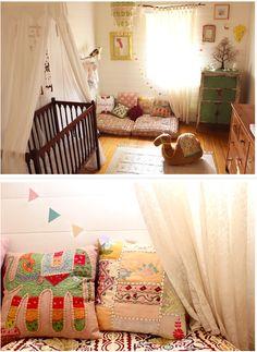 Love the Boho room decor Boho Nursery, Elephant Nursery, Girl Nursery, Girls Bedroom, Elephant Pillow, Baby Decor, Kids Decor, Boho Room, Big Girl Rooms