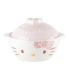 A truly beautiful piece of pottery, this Hello Kitty ceramic earthen pot can be used to make soups, stews, clay pot dishes, and more!