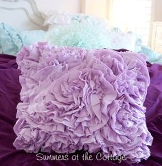 LAVENDER RAG ROSES RUFFLES CHIC OVERSTUFFED CHAIR SOFA BED PILLOW
