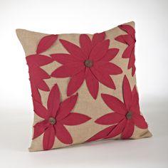 Flower Jute Throw Pillow
