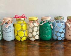 Hand painted Eerin Mason jar vase