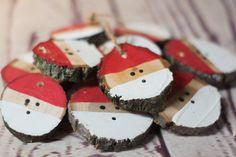 Santa Christmas Ornament Set - Hand Painted Christmas Ornaments - Wood Slice Ornament - Christmas Decorations - Christmas Tree Ornaments