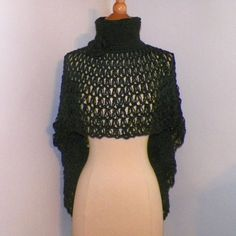 Black Poncho Cape Cowl Turtle Neck Boho Gothic Steampunk Shawl Victorian Capelet Crochet Knit Freeform Crochet Small to XL