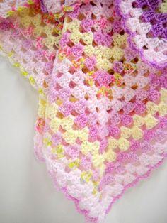 Baby Blanket, Handmade Baby Blanket, Baby Girls Shower Gift, Baby Girls Blanket, Stroller Blanket, Lavender, Pink, Yellow. $36.00, via Etsy.