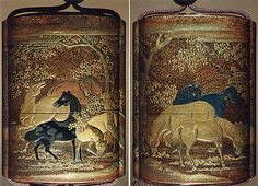 Case (Inrô) with Design of Horses among Cherry Blossom Trees  Date: 18th–19th century Culture: Japan Medium: Lacquer, nashiji, gold, silver, black and brown hiramakie, takamakie; Interior: nashiji and fundame