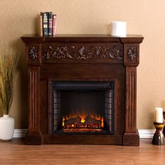 62 Quot Grand Cherry Electric Fireplace At Big Lots 4800 Btu