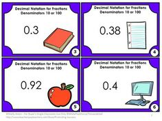 Fractions Number Line: You will receive 30 math task cards to help students use decimal notation for fractions with denominators 10 or 100.  Scavenger hunt directions and other game ideas are included. You will also receive a student response form and answer key.   CCSS.MATH.CONTENT.4.NF.C.6  Use decimal notation for fractions with denominators 10 or 100.  For example, rewrite 0.62 as 62/100;  describe a length as 0.62 meters; locate 0.62 on a number line diagram.