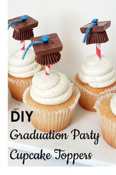 Give your graduating friends a celebratory treat with a personal touch. Make these fun DIY graduation party cupcake toppers to adorn your favorite cupcake recipe. Pick up some mini Reese's Peanut Butter Cups, mini M&Ms, chocolate squares, sour belt candy, decorative straws, and melting chocolate. Then build these adorable edible graduation caps. Visit eBay for photo instructions and more details to create a festive graduation party cupcake topper.