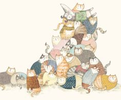 Illustration of a dog lieing on his back on a pile of cats. Leila Rudge