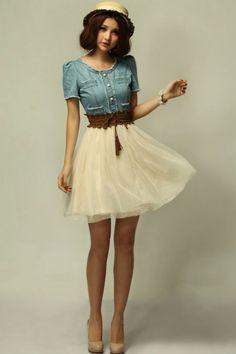 robe vintage pas cher rétro chemise jean denim tulle jupon tendance robe pas cher cintrée robe ...