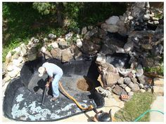 Permanent and flexible solution for fish pond liners #PondLiner, #PondLeakRepair, #EPDMPondLiner, #Pondleaks