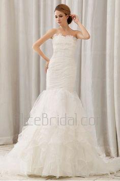 Organza Sweetheart Court Train Mermaid Wedding Dress with Ruffle - Alice Bridal