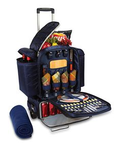 Another great find on #zulily! Excursion-Navy/Black With Burgundy Plaid Picnic Basket Set #zulilyfinds