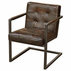 Townsend Industrial Loft Tufted Dark Brown Leather Dining Chair | Kathy Kuo Home