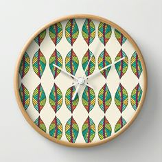 Native Leaves Wall Clock by Pom Graphic Design  - $30.00 #walldecor #clock #wallclock #decor #decorideas #home #forthehome #decorinspiration #giftideas #leaves #tribal