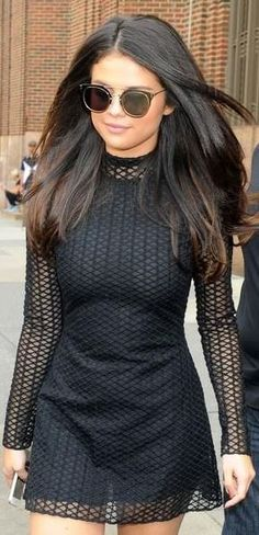 Who made Selena Gomez's black long sleeve dress?